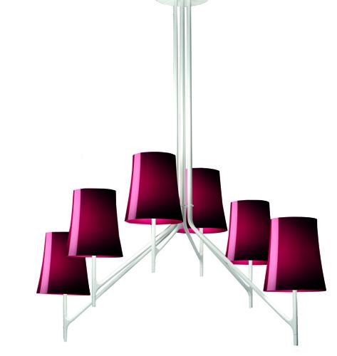 La versione a sospensione  della lampada Birdie per Foscarini, progettata da Roberto Palomba e Ludovica Serafini