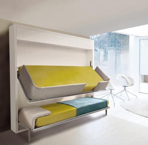Lollisoft di Clei: chiuso è una parete di 30 cm, aperto è un letto a castello