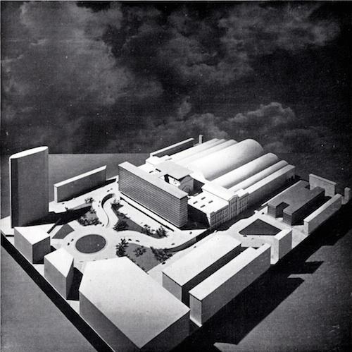 Giulio Minoletti, progetto di trasformazione della Stazione Centrale con eliporto e Air Terminal, 1959
