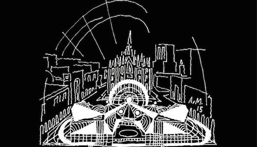 L'immagine della copertina del catalogo della mostra Milano Mai Vista, di Italo Lupi con disegno di Alessandro Mendini