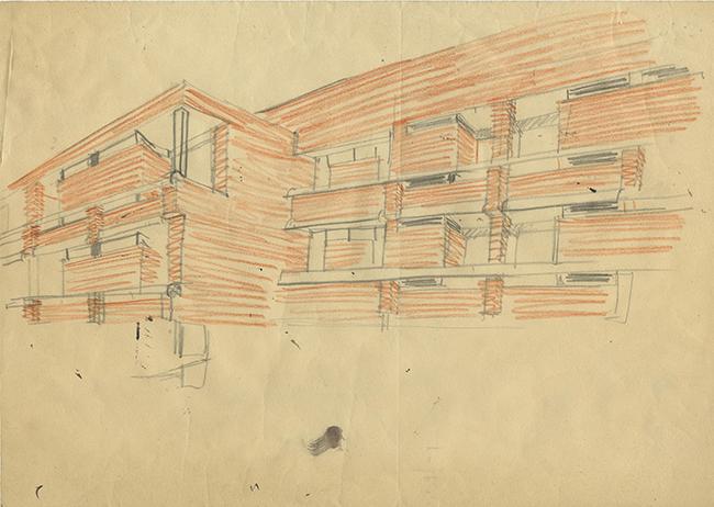 A Campana, nella provincia di Buenos Aires, Magistretti realizza tra il 1959 e il 1963 per la Techint un residence (ora  rinnovato e riaperto nel 2008 come Tenaris University Residence) che doveva essere un primo edificio all'interno del progetto (mai realizzato) di un centro civico. Qui vediamo uno schizzo