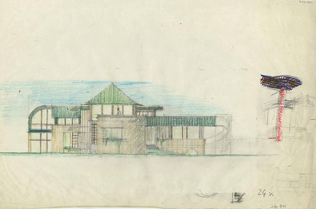 Schizzo casa Tanimoto a Tokyo, realizzata tra il 1985 e il 1986. Magistretti cura l'intero arredamento, ad esclusione della sala da tè. In tutto il progetto emerge la volontà di ricondurre una concezione abitativa e architettonica occidentale  alle suggestioni del contesto giapponese