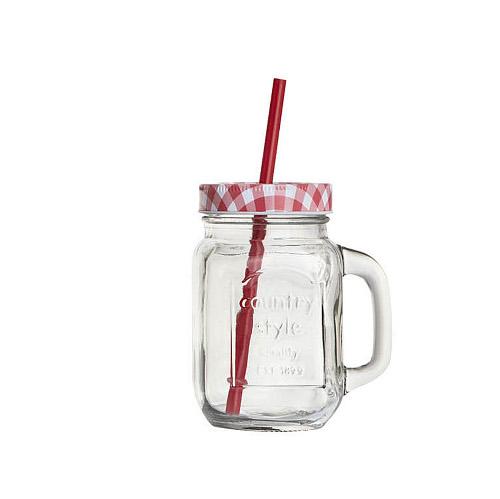 Coincasa, contenitore in vetro con coperchio e cannuccia perfetto per frullati e smoothies, € 2,90