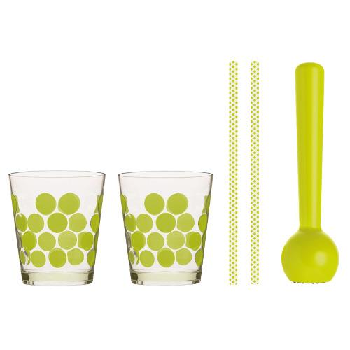 Set per preparare il mojito di Zak!designs è composto da pestello, due bicchieri e due cannucce. Disponibile anche bianco, 20 euro