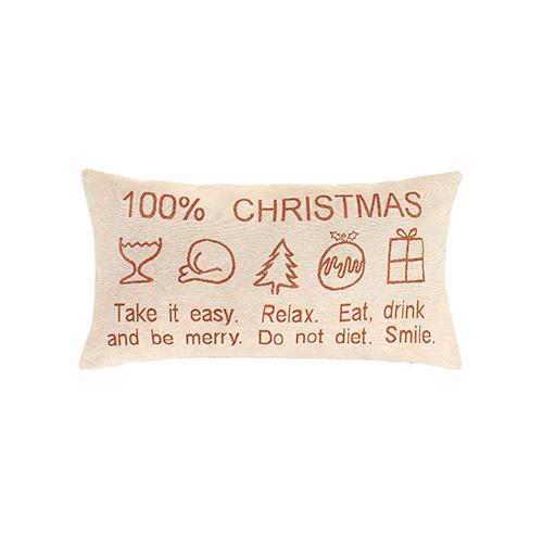 Richiamando le etichette con le istruzioni per il lavaggio dei capi, Coincasa propone questo morbido cuscino in gobelin che  ricorda tutti gli aspetti festosi del Natale. Costa 24,90 euro