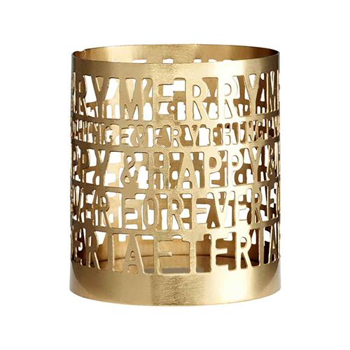 Il portacandele in metallo di H&M Home ha incisioni che nascondono un messaggio beneaugurante. Costa 4,99 euro