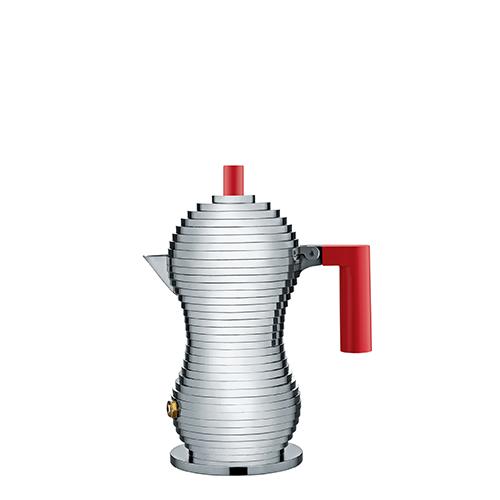 La caffettiera Pulcina  disegnata da Michele De Lucchi per Alessi. Il designer spiega: «Il serbatoio dell'acqua è sferico e si restringe verso l'alto creando un vano dove l'aria va in pressione prima che l'acqua entri in ebollizione. L'acqua attraversa il filtro senza modificare la struttura molecolare del caffè e il sapore rimane più puro e intenso. La forma esterna dei due serbatoi è gradinata per alternare alle pareti spessori di materiale adatti al riscaldamento e raffreddamento». A partire da 48 euro