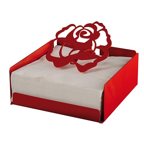 Le rose rosse sono il simbolo della festa degli innamorati. Arti & Mestieri le sceglie per questo portatovaglioli in metallo (27,50 euro)