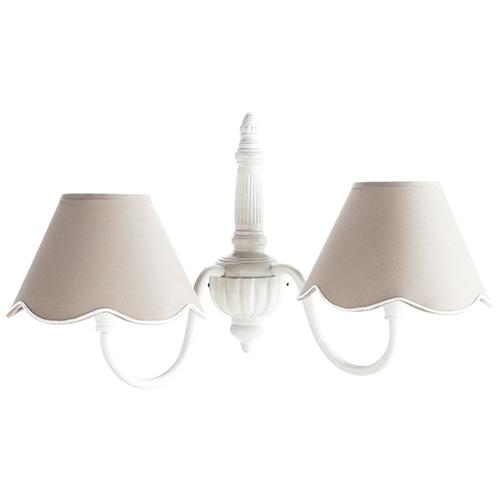 beautiful la struttura in metallo bianco classica mentre i due paralumi in cotone grigio danno with maison du monde applique