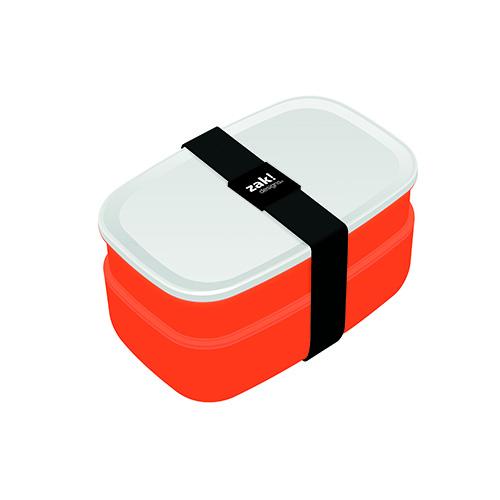 Il lunch box di Zak!designs è dotato di posate e due scomparti. Disponibile anche nei colori bianco e rosso (21,30 euro)