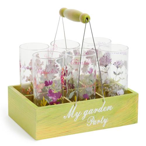 Per gli amanti di romantici giardini all'inglese, il cestino con 6 bicchieri in vetro di Maisons du monde (29,99 euro)