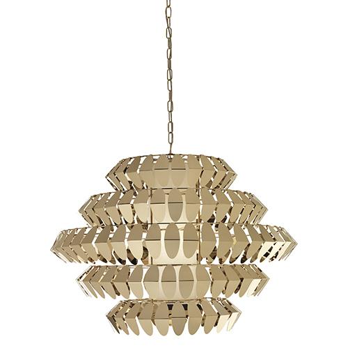 Un gioiello per impreziosire gli ambienti: è il lampadario Diamante di Cantori, una struttura in metallo che sostiene delle foglie di acciaio finitura oro