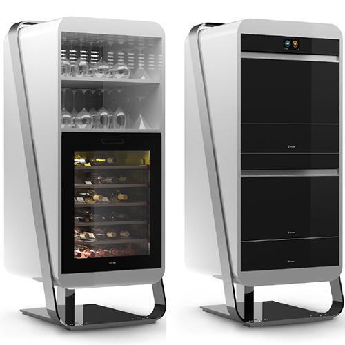 Irinox presenta la colonna Gourmet composta da abbattitore, macchina sottovuoto e vani contenitore, e la colonna Vinoteca dotata di 5 ripiani scorrevoli in faggio, un vano di appoggio sul fondo e pannello di comandi elettronico