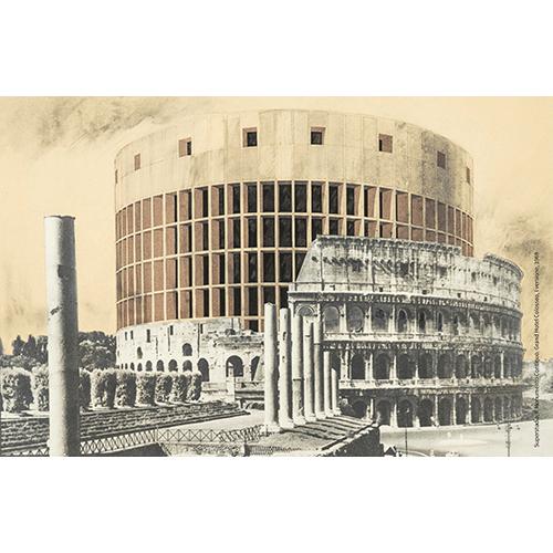 Superstudio, Il Monumento Continuo, Grand Hotel Colosseo 1969, fotomontaggio Courtesy Fondazione MAXXI