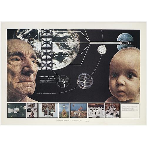 Superstudio, Atti Fondamentali. Educazione. Progetto 1, 1971, litografia courtesy Fondazione MAXXI
