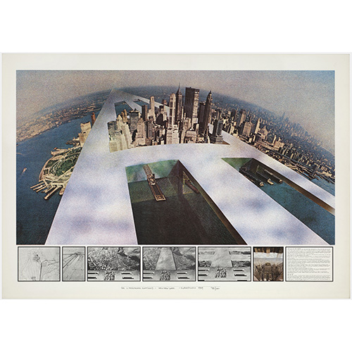 Superstudio, Il Monumento Continuo, New York 1969, litografia courtesy Fondazione MAXXI