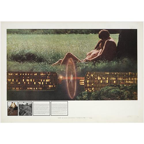 Superstudio, Atti Fondamentali. Amore. La macchina innamoratrice, 1972, litografia courtesy Fondazione MAXXI