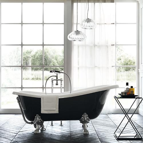 Si chiama Dea e fa parte della collezione Magnifica di Scavolini Bathrooms. Si caratterizza per il gusto retrò sottolineato dai piedi cromati e il gruppo rubinetteria a pavimento