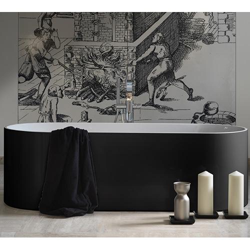 Oval di Ceramica Flaminia è una vasca da bagno realizzata in Pietraluce, un materiale resistente che non perde la sua bellezza con l'usura. Ha spessori sottili unisce forme squadrate a linee tondeggianti