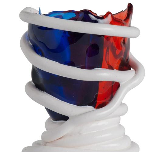 Corsi Design, vaso Pompitu ? XS, edizione speciale '96-'16, Fish Design di Gaetano Pesce. Vaso in resina trasparente blu e rossa