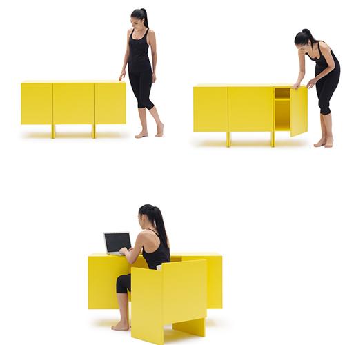 Home-work di Campeggi è una credenza che si trasforma in uno scrittoio. Nasconde anche una sedia