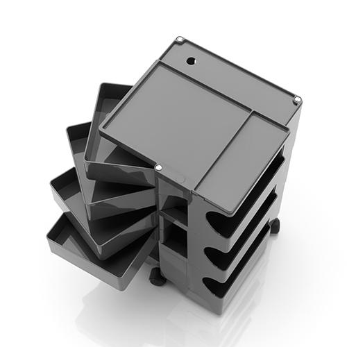 Boby di B-Line è il carrello contenitore disegnato da Joe Colombo. Configurabile a piacere, è compatto e super funzionale in ogni suo cassetto. Apribile a ventaglio, o in singoli scomparti, permette di ottenere capienze personalizzate
