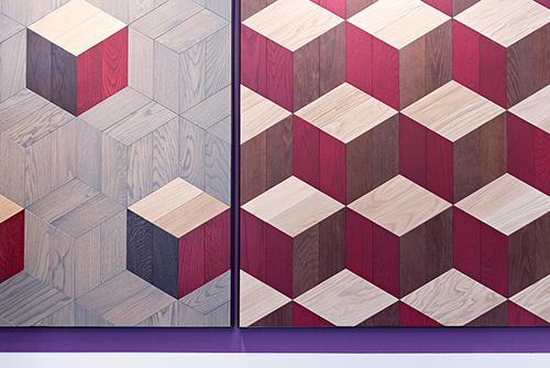 Bisazza Wood, design Studio Job. Pavimento policromo in legno