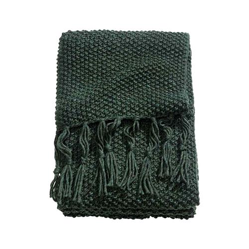 Un morbido e caldo plaid vi farà spesso compagnia in questa stagione. H&M Home lo propone verde bosco in maglia punto riso