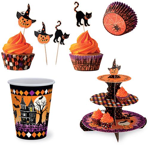 Per servire i cupcake: pirottini (circa 3,20 euro 50 pezzi), eterage a tre piani (16 euro circa) e bandierine (circa 3,70 per 12 pezzi). Della stessa linea anche i bicchieri (circa 4 euro 8 pezzi). Tutto di Ihr