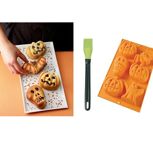Stampini da forno in silicone antiaderente con 6 cavità: teschio, pipistrello, zucca e fantasma (circa 17,20 euro, 2 pezzi)