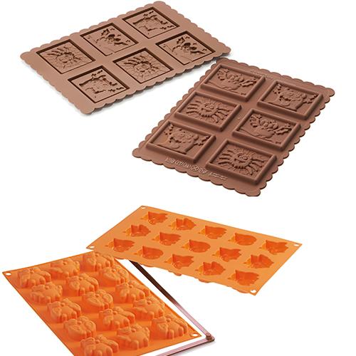 """Da Silikomart gli stampi Mini Fairy Owls della linea Fancy&Function permettono di realizzare rispettivamente 15 deliziosi dolcetti a forma di tenebrosi gufetti (15.90 euro). Cookie Monsters è, invece, il diverte kit della Linea Easy Choc, composto da un tagliapasta e uno stampo in  silicone, per realizzare merende """"da brivido"""" in versione dolce (ad esempio in pasta frolla e cioccolato) o salata, a forma di pipistrello, mostriciattolo e ragnetto. Nella scatola anche  gustose ricette (9,90 euro)"""