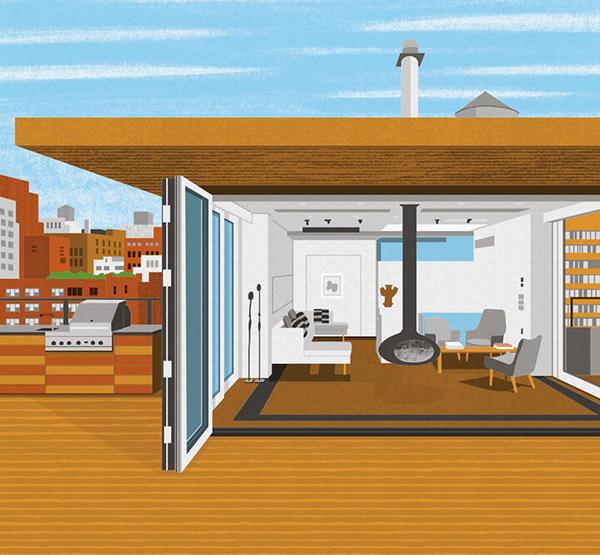West Village Penthouse è la mutazione del tetto in abitazione. Il progetto è di Ghiora Aharoni. Illustrazione di Boyoun Kim