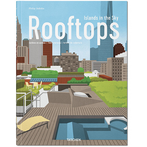 La copertina del libro Rooftops. Islands in the sky nell'edizione italiano-spagnolo-portoghese
