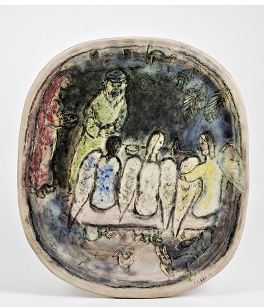 Marc Chagall, Abramo e i tre angeli, 1950