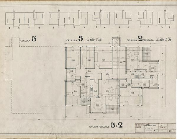 La piantina mostra il progetto del gruppo di abitazioni pensate da Vico Magistretti per l'azienda di prefabbricati MBM (© Fondazione studio Museo Vico Magistretti)