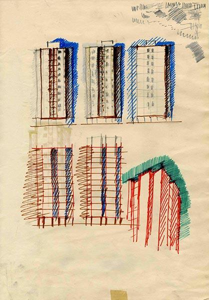 Uno schizzo delle Torri al Gallaratese (© Fondazione studio Museo Vico Magistretti)