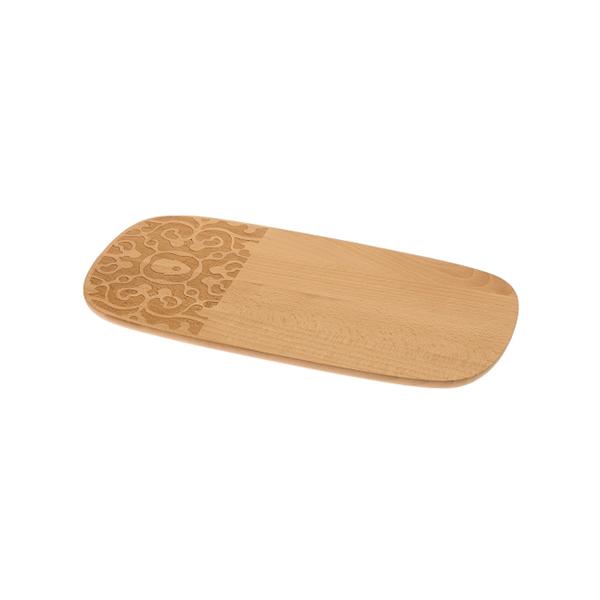 Fa parte della collezione Dressed in wood, disegnata Marcel Wanders per Alessi, il tagliere in legno di faggio