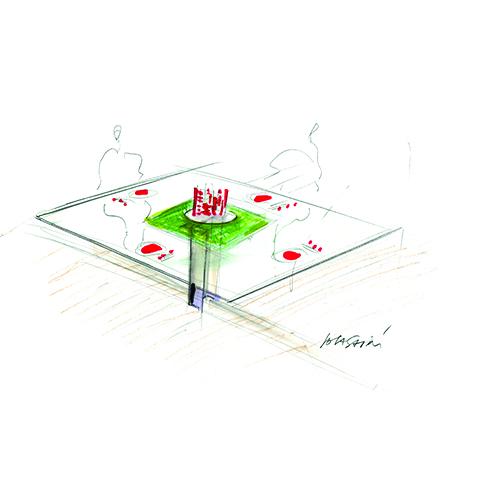 Lo schizzo di Massimo Iosa Ghini per RCasa&Design: il suo tavolo progettato con una gamba sola imbullonata al pavimento, con l'alzata in muschio fatta da lui stesso a mano e il rosso delle candele e dei sottopiatti