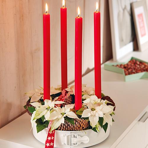 Un tutorial per riciclare con stile. Serviranno: Stelle di Natale bianche, stampo per torte o per ciambelle, muschio, pigne, portacandele, candele e nastri