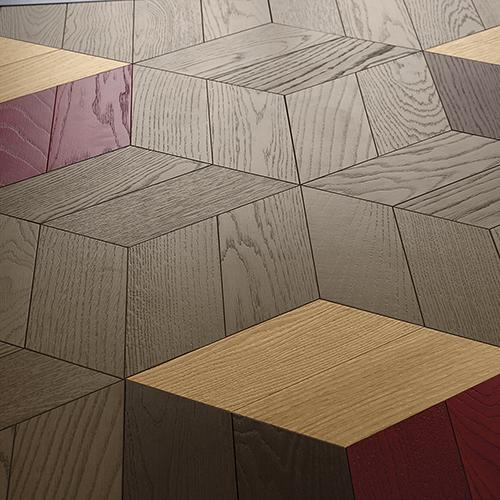 Bloc, parquet decorato in legno di rovere ottenuto con l'accostamento di elementi a forma di spina