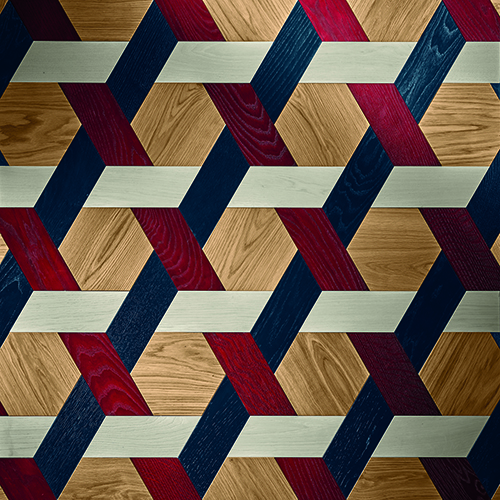 Cannage, parquet in legno di rovere ottenuto accostando elementi esagonali (20x23 centimetri) a elementi a forma di spina (30x10 centimetri)