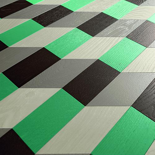 Plissage, parquet in legno di rovere ottenuto con l'accostamento di elementi a forma di spina (30x10 centimetri)