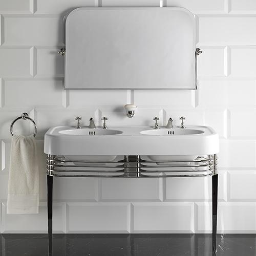 Arredare il bagno con doppio lavandino per unire stile e praticità, come la consolle Wide blues di Devon&Devon