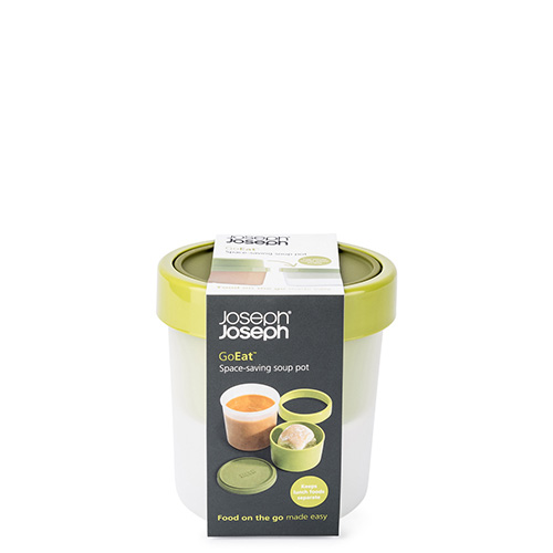 """Da Joseph & Joseph il contenitore per gustare anche fuori casa la zuppa. """"Go eat soup pot"""" ha inoltre uno scomparto per ospitare pane e crostini (18,90 euro)"""
