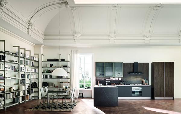 Kaleidos di Febal combina insieme gli ambienti della cucina e del living. Il 52 per cento delle cucine rinnovate sono più aperte verso le stanze adiacenti