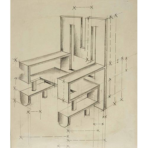 Progetto di poltrona, matita su carta (1930-32)