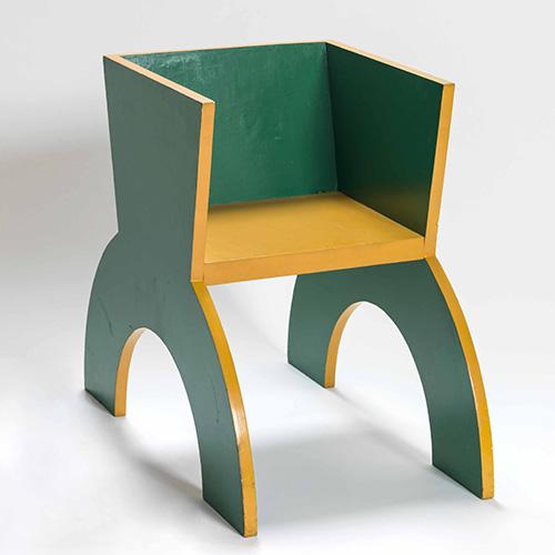 Sedia verde e gialla (ricostruzione) in legno dipinto