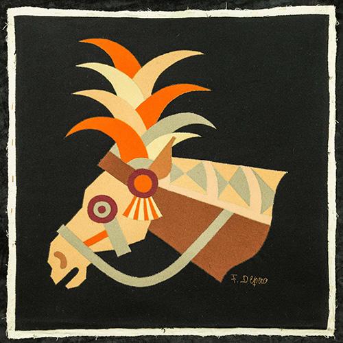 Testa di cavallo, tarsia in panno (1938)
