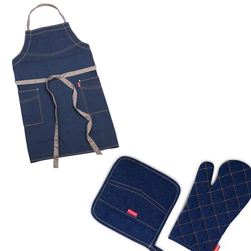 Cucinare in jeans grazie alla linea Presto Denim pensata appositamente per lui da Tescoma (da 17,90 euro)