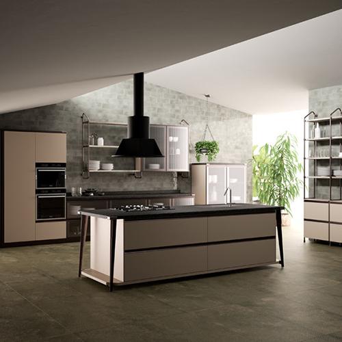 La nuova cucina Diesel Open Workshop, nata dalla collaborazione tra Scavolini e Diesel, si distingue per le strutture metalliche modulari in tubolare di ferro di impronta industriale e per l'alternarsi di pieni e vuoti